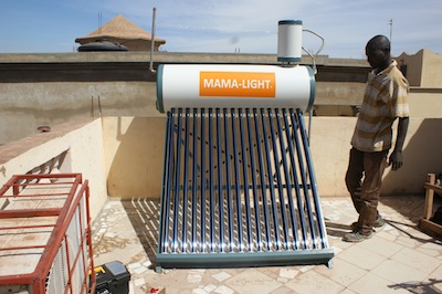 Solar water heater in West Africa