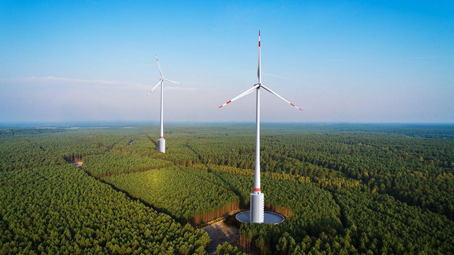 Ces éoliennes ressemblent à de véritables châteaux d'eau fonctionnant grâce à l'énergie du vent (Crédit photo: GE)